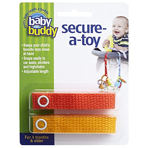 Baby Buddy Secure-A-Toy - Straps Toys, Teether, or Pacifiers to Strollers, Highchairs, Car Seats- Safety Leash With Adjustable Length to Keep Toys Sanitary & Clean, Red/Orange 2 Count ()
