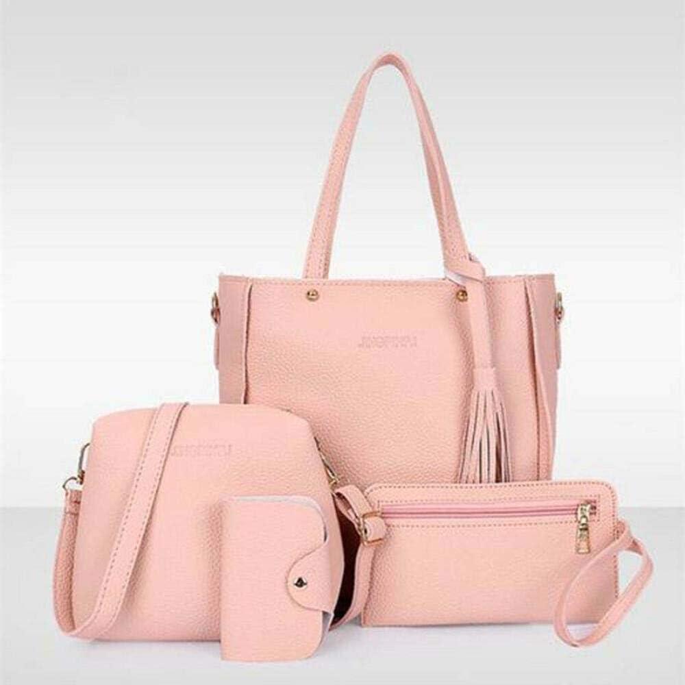 ann Borsa a tracolla da donna a tracolla da 4 pezzi Borsa a tracolla in pelle per donna Borsa a tracolla per borsa da donna Pink