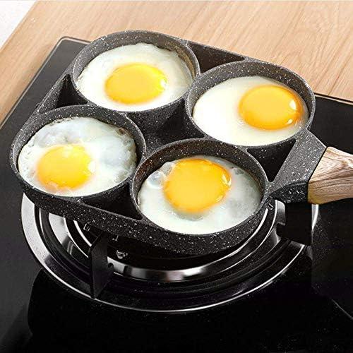 XYSQWZ Omelette 4 Trous pour Burger S Jambon Crêpière Poêles À Frire Créative Antiadhésive sans Huile-e Petit Déjeuner pour Cuisine Cuisson Bouilloires Électriques
