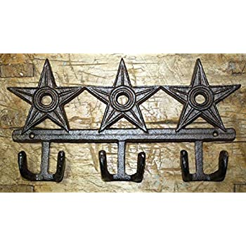 Cast Iron STAR Coat Hooks Hat Hook Towel Rack Western Cowboy Rustic Decor HUGE