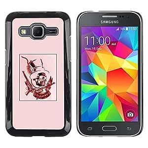Be Good Phone Accessory // Dura Cáscara cubierta Protectora Caso Carcasa Funda de Protección para Samsung Galaxy Core Prime SM-G360 // Red Pink Top Hat Revolver President
