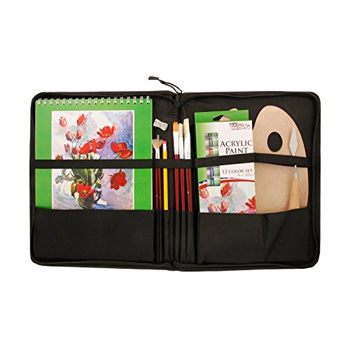 US Art Supply 23 Piece Acrylic Painting Set with Zippered Portfolio - Set Art Portfolio