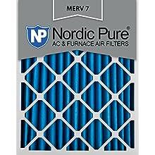 Nordic Pure 20x25x2M7-3 MERV 7 Pleated AC Furnace Air Filter, 20x25x2, Box of 3