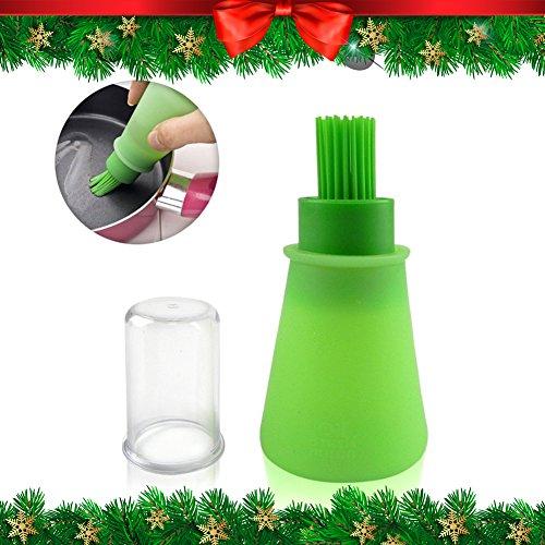 CHRISTMAS GIFT Oil Bottle Brush | Food Grade 60 Milliliter / 2 Ounce Silicone Multipurpose Oil Honey Dispenser Storage and Basting Brush | Anti Leak Anti-Dust Lid for Grilling Baking Pancake BBQ Marinate Foods