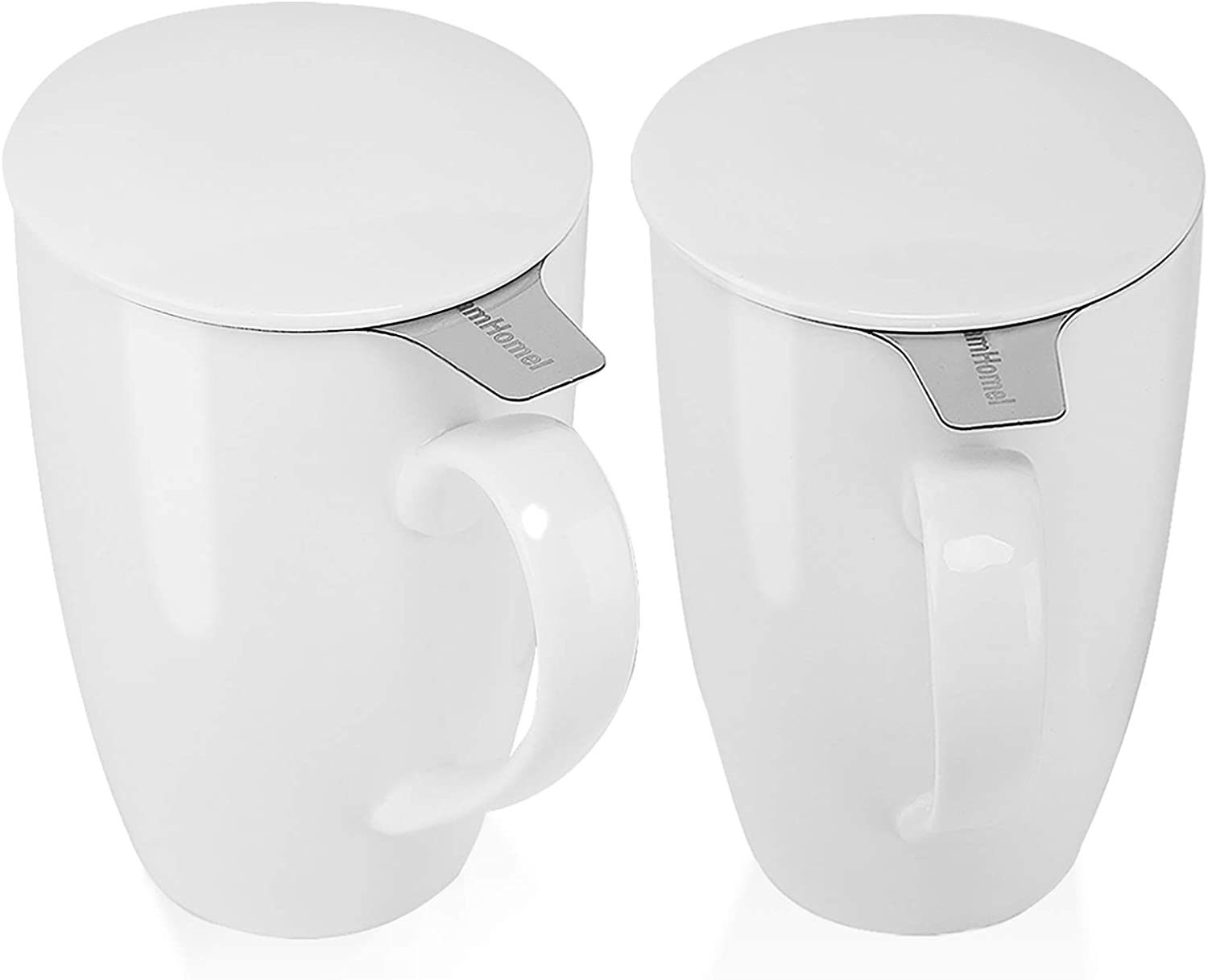 amHomel Porcelain Tea Cup With Infuser Basket and Lid for Steeping,15 oz Tea Mugs,Set of 2,white