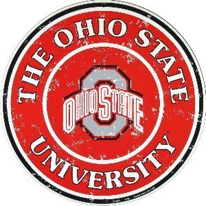 Ohio State Buckeyes 12 Inch Embossed Metal Nostalgia Circular Sign