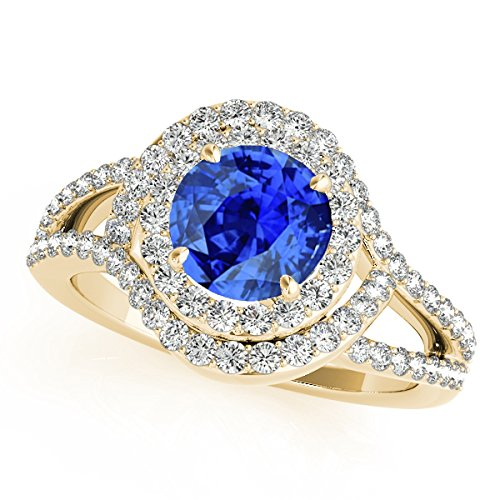 1.60 Ct Ttw Diamond And Tanzanite Ring In 14k Yellow Gold 14k Yellow Gold Tanzanite Ring