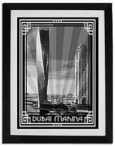 Dubai Marina- Black And White With Silver Border F06-nm (a3) - Framed