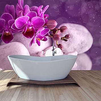 Lila Orchideen-Blume Wandbild Blumen Foto-Tapete Mädchen ...