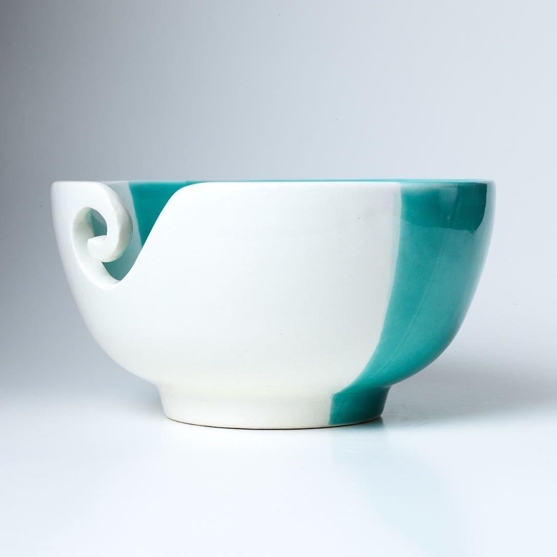 Furls Handmade Ceramic Yarn Bowl (Aquamarine Dreams) for Knitters and Crocheters