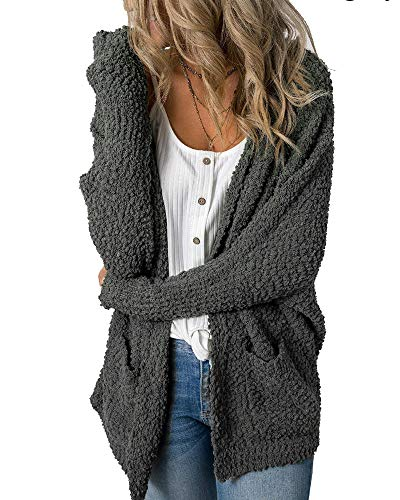 Mafulus Womens Fleece Cardigans Oversized Open Front Long Sleeve Casual Cardigan Sweaters Dark Grey