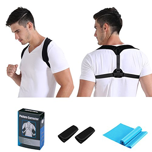 Posture Corrector Brace For Women Men Kids, Inpher Adjustable Clavicle Shoulder Support Upper Back Brace, Smart Reminder Device for Back Straightener Slouching Hunching Plus Armpit Pads and Resistance by Inpher