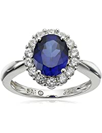 Sterling Silver Created Blue Sapphire and Created White Sapphire Ring