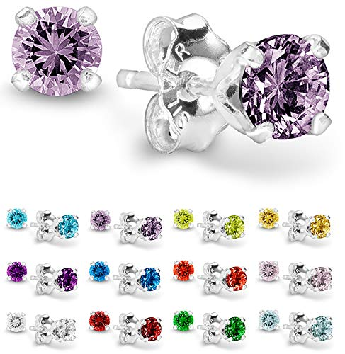 Birthstone Stud Earrings 4 mm - 925 Sterling Silver with Cubic Zirconia Crystal - October (Tourmaline) (Earring Set Birthstone)