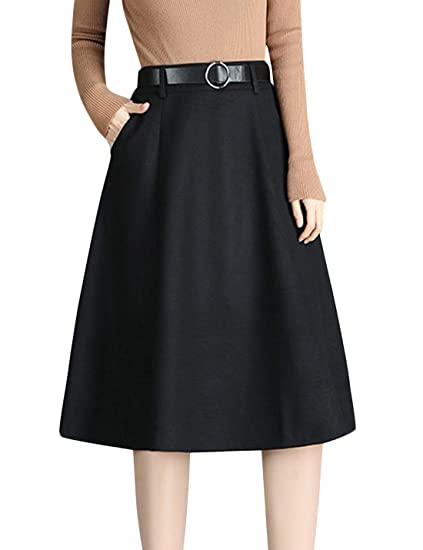 5f5a5bbd64e3 Image Unavailable. Image not available for. Color  Tanming Women s Winter  Thicken High Waist Back Zipper A-Line Pleated Midi Skirt