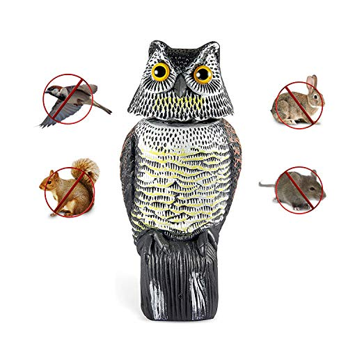 (Asdomo Owl Scarecrow Bird Repellent Fake Owl Decoy with Rotating Head Motion Activated Scarecrow with Frightening Sound Deterrent Pest Repellent Garden Protector)
