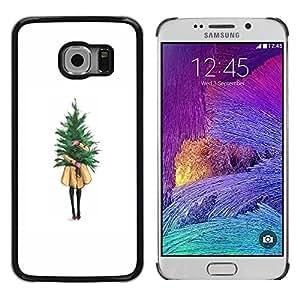 rígido protector delgado Shell Prima Delgada Casa Carcasa Funda Case Bandera Cover Armor para Samsung Galaxy S6 EDGE SM-G925 /Winter White Christmas Tree Xmas/ STRONG