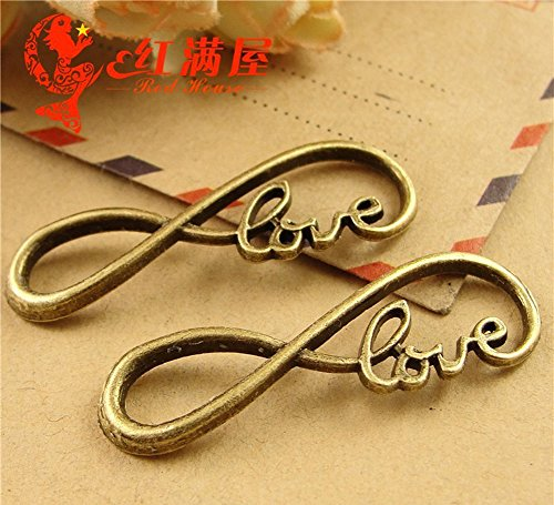 Love Charm Links (JSSHI 50Pcs 12X39mm Antique Bronze Love and 8 Pattern Bracelet Necklace Anklets Connectors Charms Pendants for DIY Jewelry Making Accessories)