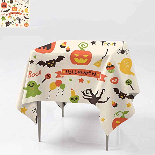 AFGG Spill-Proof Table Cover,Halloween Party Set,Dinner Picnic Table Cloth Home Decoration 60x60 Inch ()