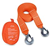 """JCHL Tow Strap Heavy Duty with Hooks 2""""x20' 15,000LB Recovery Strap 6,8 Tons"""