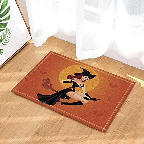 GoHeBe Halloween Decor Beautiful Witch Riding a Broom Against Full Moon Bath Rugs Non-Slip Doormat Floor Entryways Indoor Front Door Mat Kids Bath Mat 15.7x23.6in Bathroom (Witch Bathroom Door Cover)