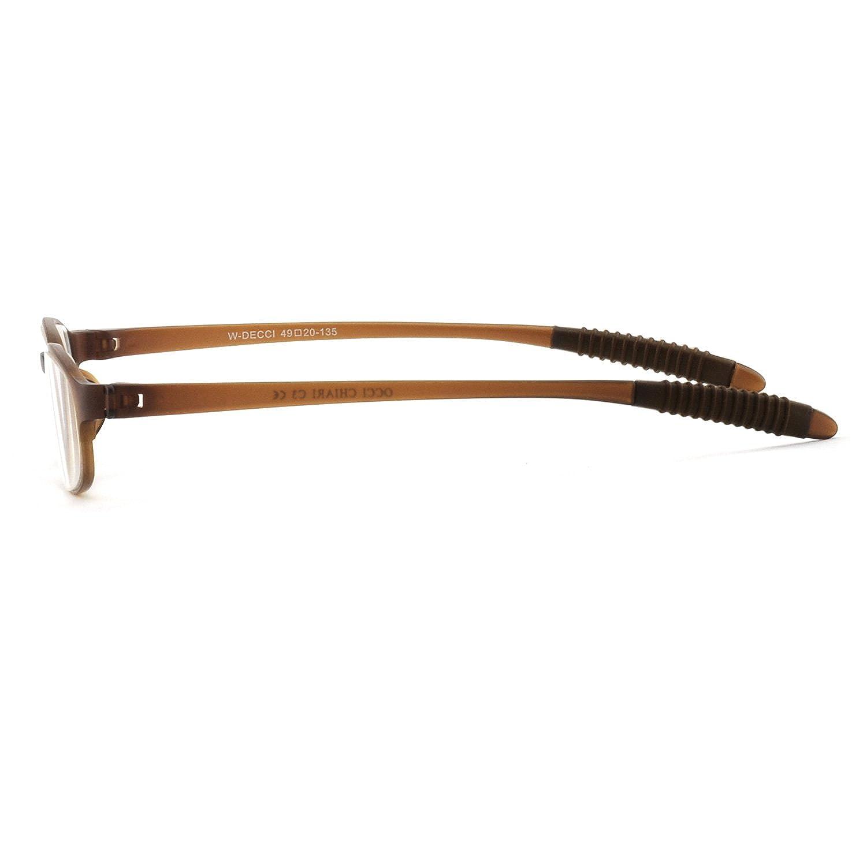 OCCI CHIARI W-DECCI Classic Slim 180 ° Pieghevole Full-Rim TR90 Occhiali da lettura ovali per uomo donna MARRONE (+ 1.5 + 2.0 + 2.5 + 3.0 49mm) 6PGX8aI08S