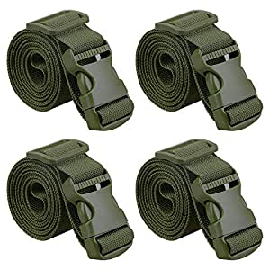 """MAGARROW 80"""" Long Utility Luggage Straps with Buckle Adjustable (Army Green (4-Pack), 1.5"""" Wide - 80"""" Long)"""