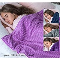 5 lbs Weighted Blanket with Dot Minky Cover for Kids (Inner Light Violet/Cover Violet & Pink, 36