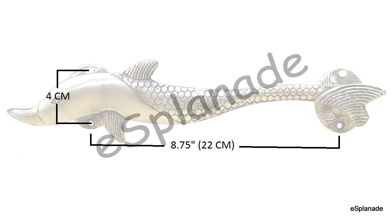 eSplanade - 12'' Dolphin Design Brass Door Handle - Single Piece| Home Decor | Door Decor | Brass Door Handles | Brass Door Pulls by eSplanade