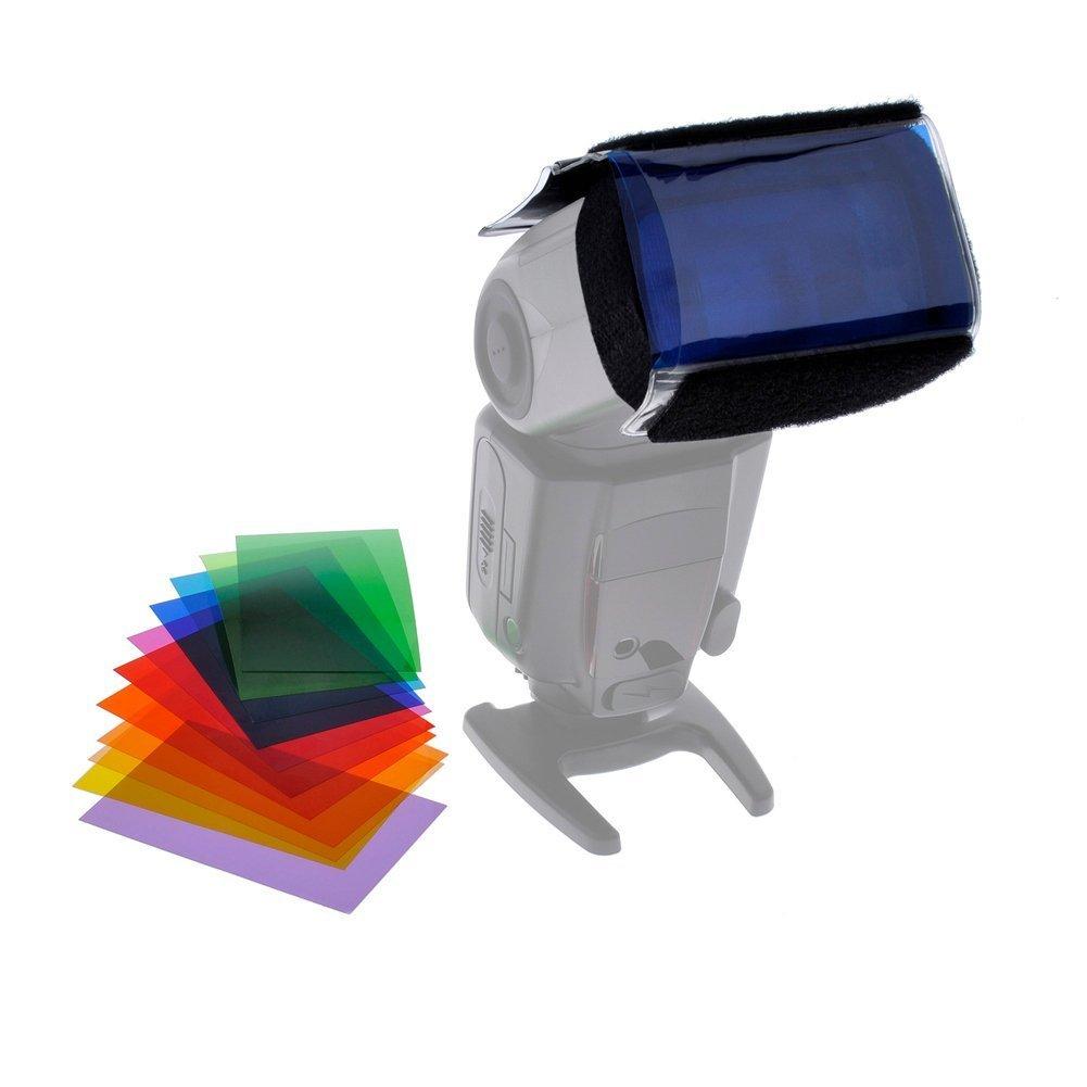 BlueBeach® 12 Piece Set Speedlite Flash Color Gels Universal Lighting Filter Kit for Yongnuo Triopo Canon Nikon Sony Pentax Panasonic Fuji JVC Kodak DSLR Digital Camera Flash flash-filter-2