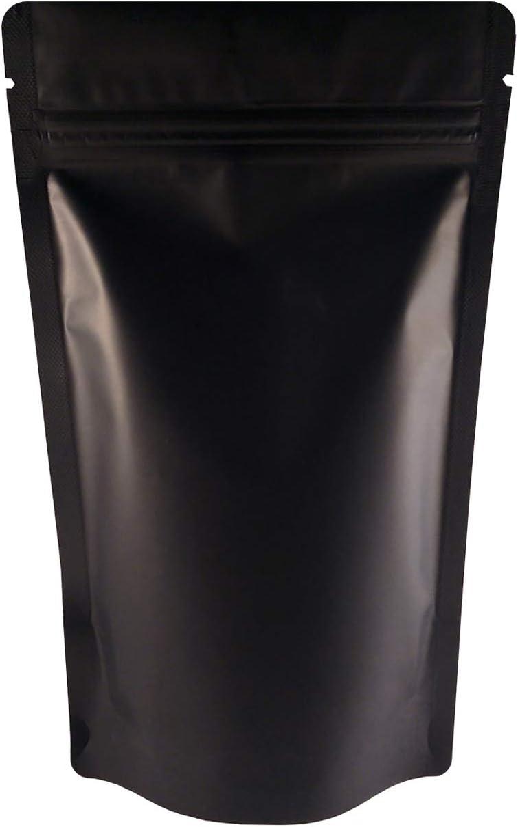 Rightpak Black Matt Aluminium Foil Stand Up Pouches with Resealable Zipper and Tear Notch for Food Packaging 100pcs, BOPP+VMPET+POLY, 21cm x 31cm