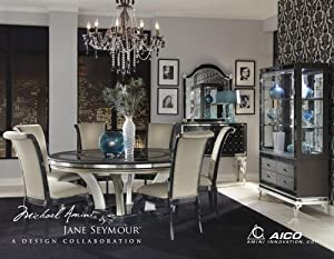 Attractive Hollywood Swank 6 Pc Round Dining Table Set By Aico Amini