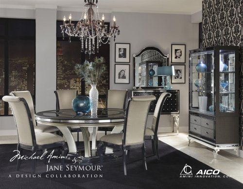 Dining Aico Room Furniture - Hollywood Swank 7 Pc Round Dining Table Set By Aico Amini in Graphite
