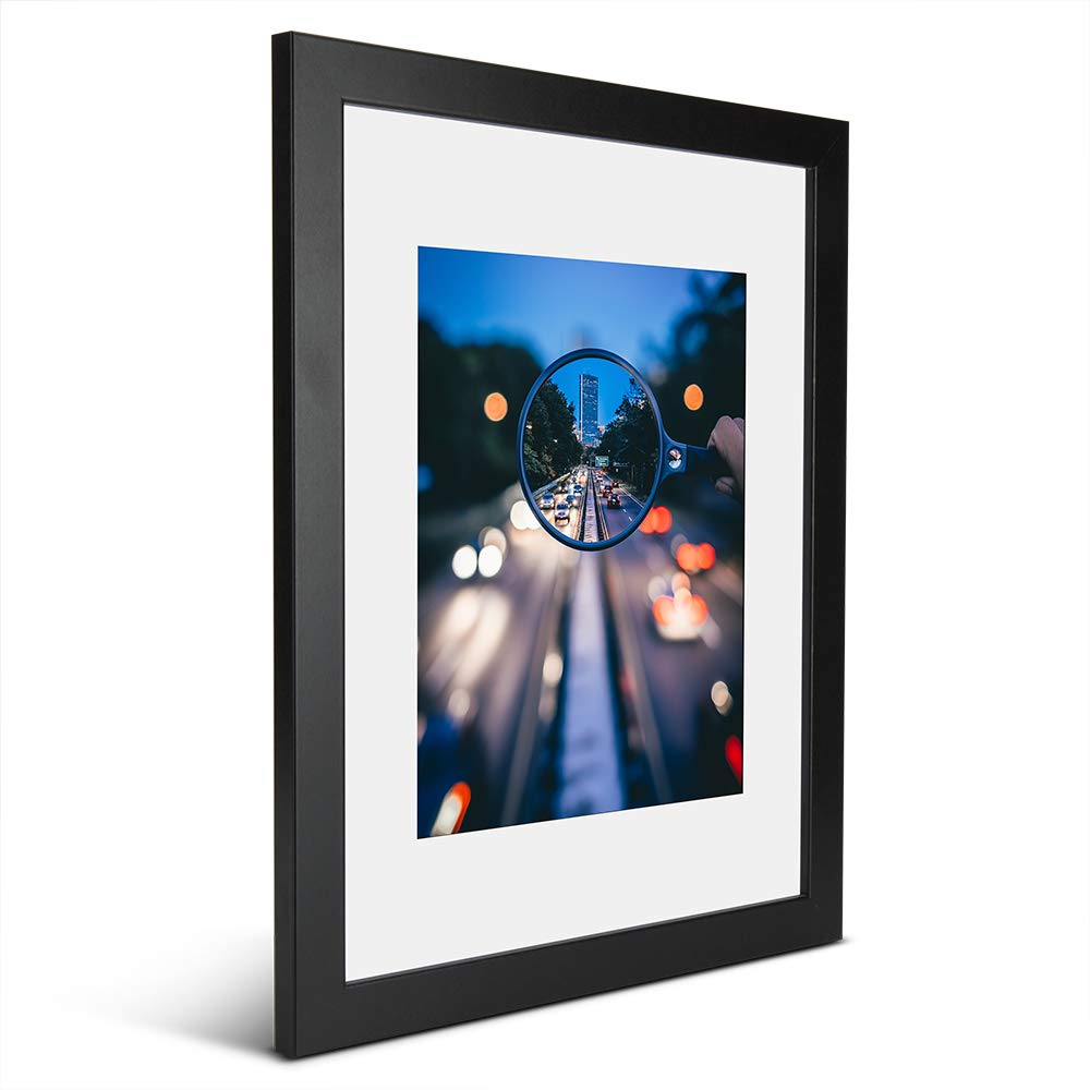 iDecorlife Premium 11x14 Black Picture Frames 1PC - 8x10 Picture Frame with Mat or 11x14 Picture Frame Without Mat - Wall Mounting Ready Real Wood Photo Frame by iDecorlife