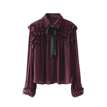 Las mujeres blusa de moda casual, europeos y americanos de viento y la corbata camisa