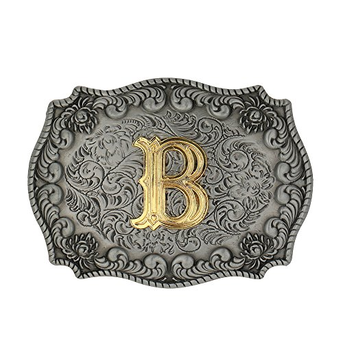 Initial Letters Western Style Cowboy Rodeo Gold/Silver Large Belt Buckles (Letter B)