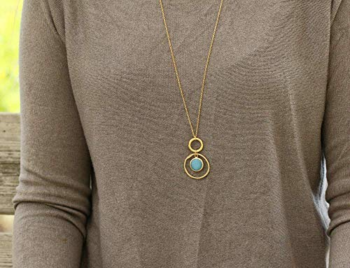 (Long Boho Charm Necklace for Women, Double Hoop with Blue Jade Stone Pendant made of Gold Plated Brass, Modern Handmade Designer Jewelry Birthday Gift)