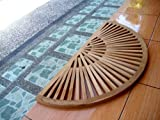TeakStation Grade A Teak Wood 34x17 Sun Burst Door / Shower/ Spa / Bath Floor Mat