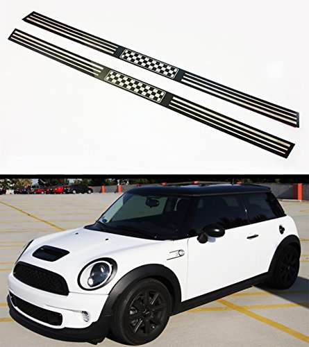Cuztom Tuning Fits for 2007-2014 R56 R57 Mini Cooper S Entry Door Sill Trim Cover with Black White Checkered Flag Logo Chrome Logo Door Sills