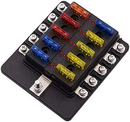 10- Vías Caja de Fusibles 12-32V Lámpara LED Auto Fusible para ...