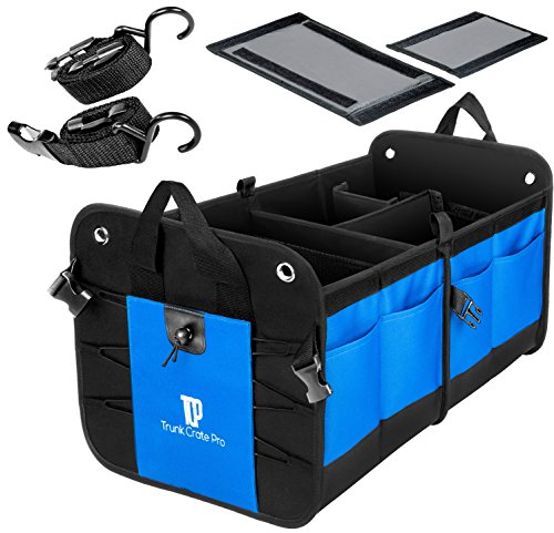 (TrunkCratePro Collapsible Portable Multi Compartments Heavy Duty Non-Slip Cargo Trunk Organizer Storage, Blue)