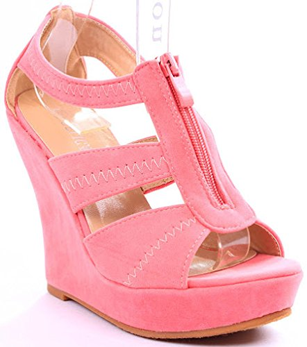 Emmie T-strap Open Toe Faux Suede Comfort Platform Wedge Sandals B00JIG7ME4 5 B(M) US|Coral