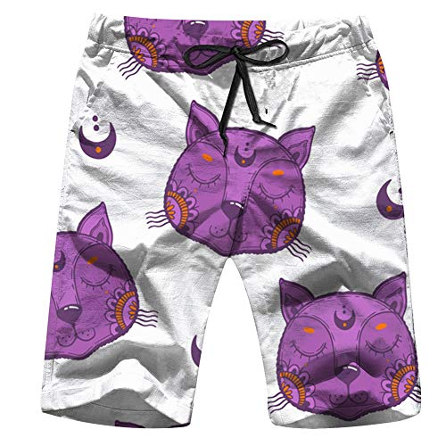 Childish Cute Cat Face Animals Animal Swim Trunks for Men Quick Dry Surf Board Shorts No Mesh Lining Beach Wear M ()