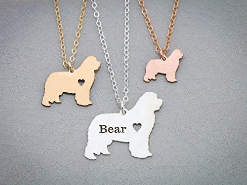 Newfoundland Dog Necklace - Newfie - IBD - Personalize Name Date - Pendant Size Options - 935 Sterling Silver 14K Rose Gold Filled Charm - Fast 1 Day Production