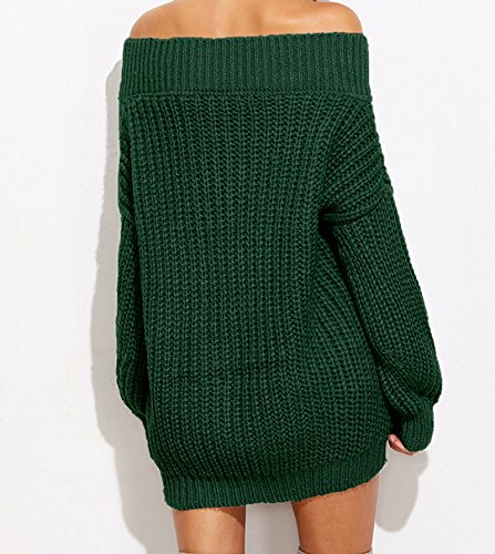 pullover a scollo maglione Taglia lavorato casual maglia da libera a a sexy V Fablcrew maniche Green con donna Grey lunghe z8PPT