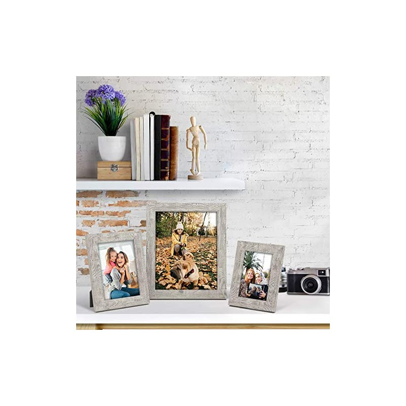 BOICHEN Picture Frames 5x7 (6-Pack) - Rustic Distressed Farmhouse Wooden Frame - Photo Frame with Glass Cover Ready to…