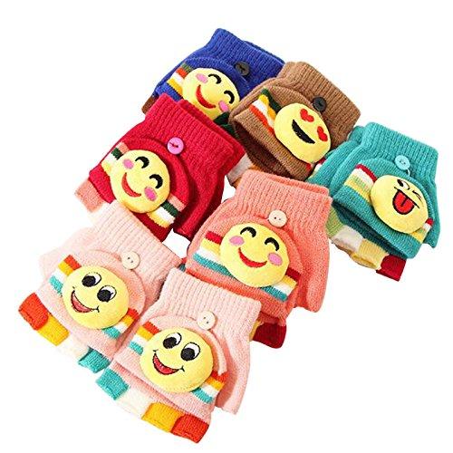 Winter Fingerless Gloves for Kids with Mitten Cover Nolonger