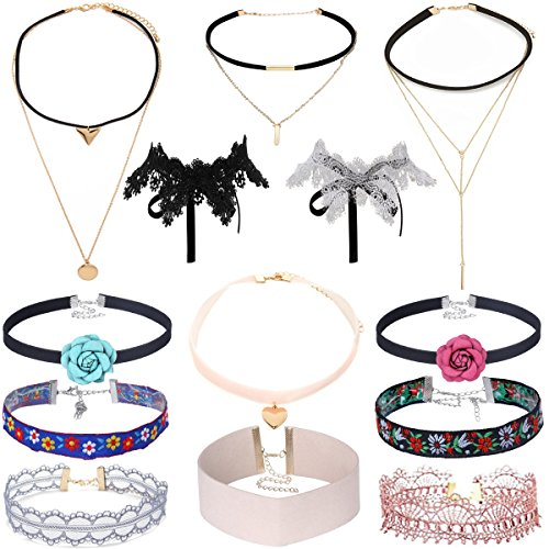 Tpocean 13Pcs Vintage Lace Tattoo Choker Set Gift Gothic Punk Velvet Necklaces for Women Girls - When Is Day Pink National