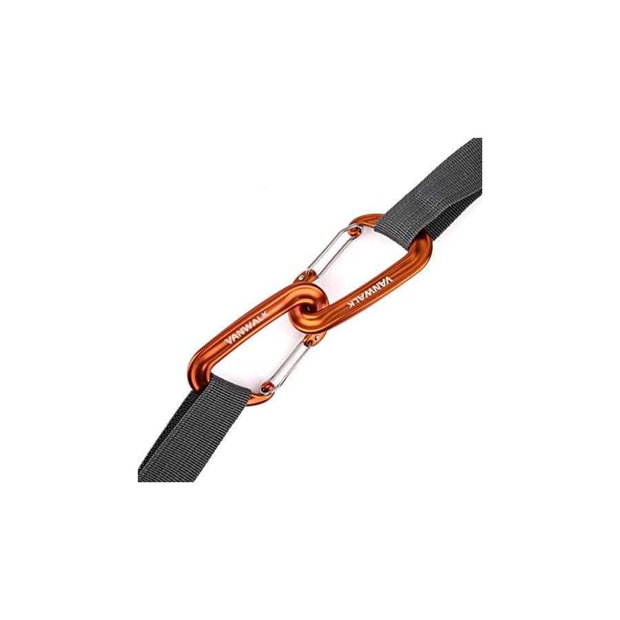 VANWALK 12KN Aluminium Wiregate Carabiners 4 Pack Rated 2645 LBS Each – 7075 Lightweight Carabiner Clips for Hammock Climbing Rocking (Orange)
