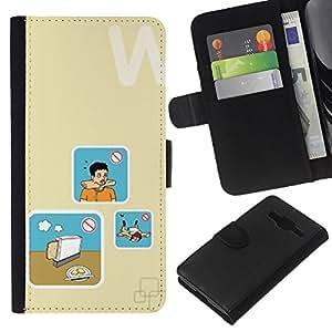 KLONGSHOP // Tirón de la caja Cartera de cuero con ranuras para tarjetas - Pan Cocinar Peligro Arte - Samsung Galaxy Core Prime //